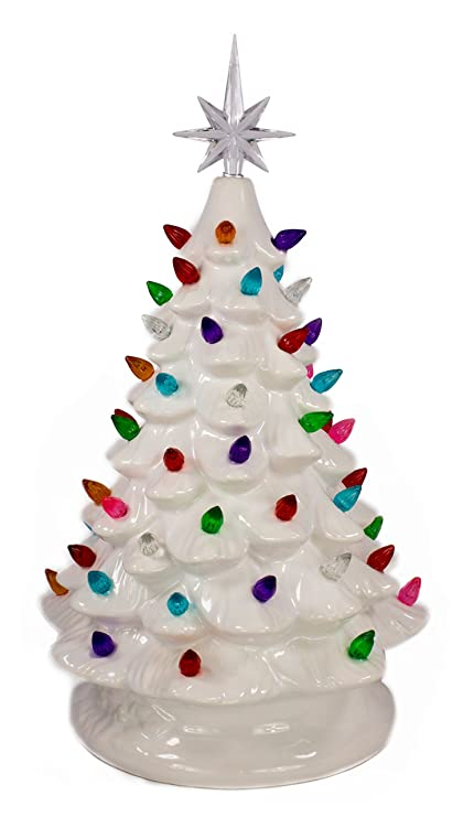 tabletop ceramic lighted white christmas tree - Christmas Tree Com
