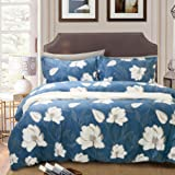Tealp Duvet Cover Floral Sets 3 Pieces Bedroom Bedding Sets Dark Blue with flover, Soft Cotton Bedding Collections Queen, NO COMFORTER