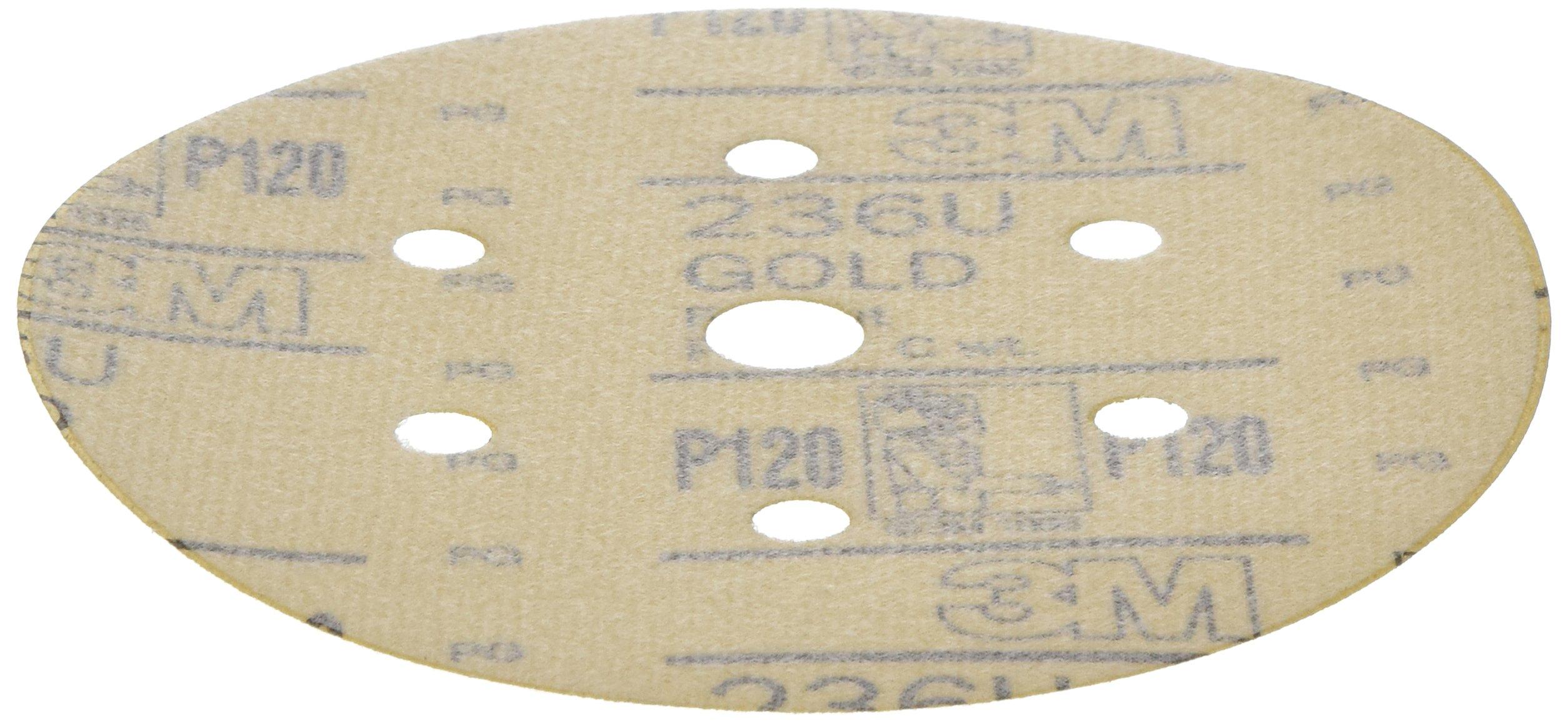 3M 01081 Hookit 236U Gold 6'' P120C Grit Dust-Free Disc