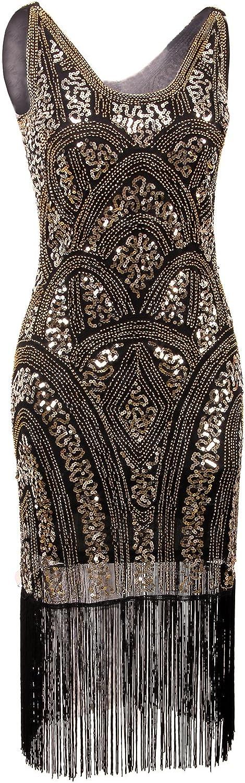VIJIV 1920s Vintage Inspired Sequin Embellished Fringe Prom Gatsby Flapper Dress