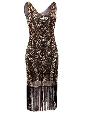 b0b807804dc Vijiv 1920s Vintage Inspired Sequin Embellished Fringe Prom Gatsby Flapper  Dress