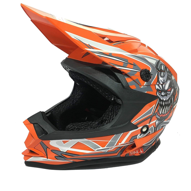 3GO X10-K Casque De Motocros Ece Certifi/é Dot Gar/çons Et Filles Homologue Sport Quad Atv Mx Off Road Enfants Orange XL