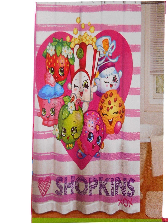 Shopkins Shower Curtain, Hooks, Wastebasket, Bath Rug and Towel