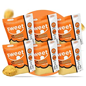 Sweet Nutrition - Keto Peanut Butter Cookies, Healthy Low Carb Keto Cookies, Soft-baked and Gluten-free Keto Desserts, Dairy-Free Snacks, Pack of 6 x 68g