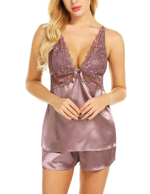 db8542e5ec8 Chomoleza Women Lace Sleepwear Satin Pajama Cami Shorts Set Nightwear