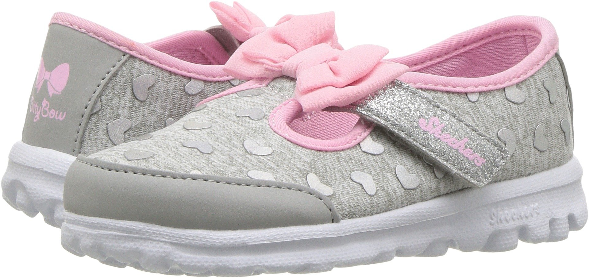 Skechers Go Walk-Bitty Hearts Girls' Infant-Toddler Slip On 10 M US Toddler Grey-Pink