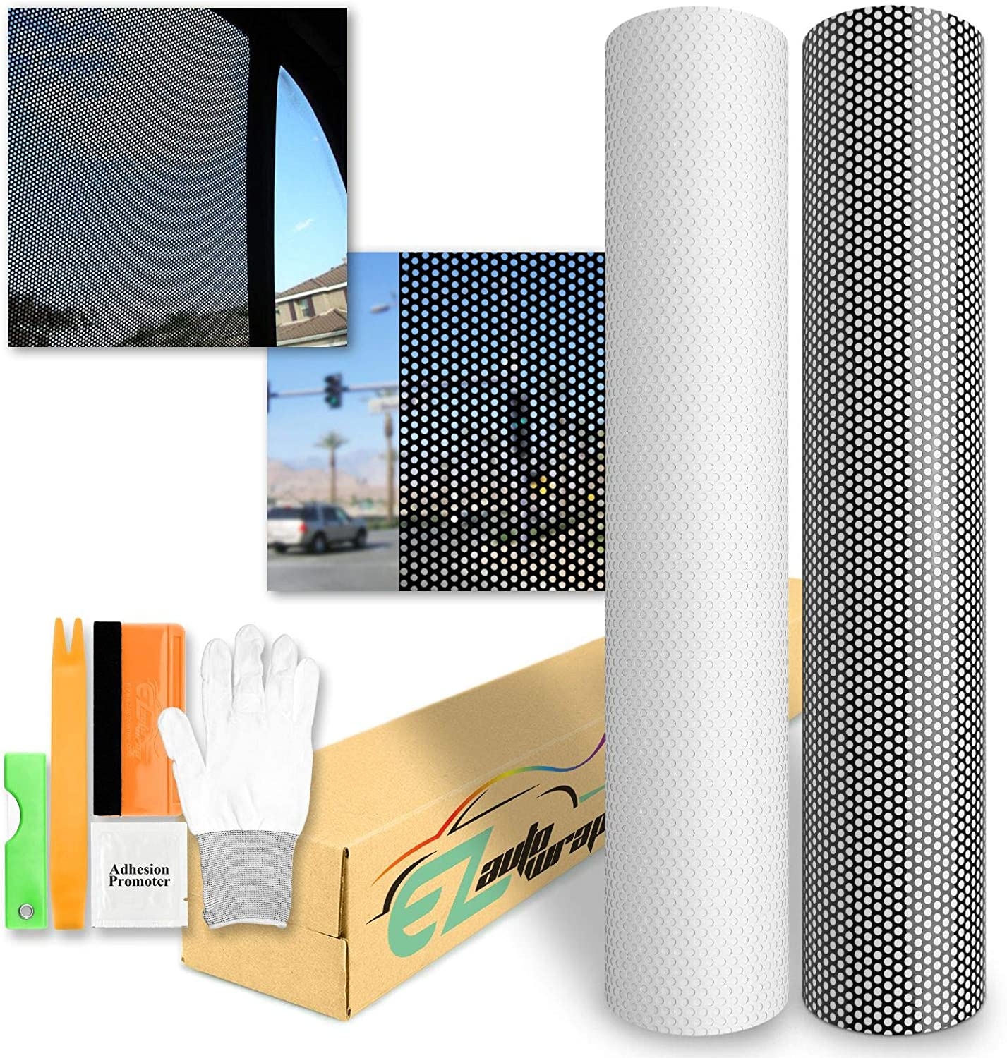 2ft x 48 VViViD One-Way Perforated Black Vinyl Privacy Window Film Adhesive Glass Wrap Roll