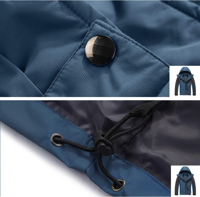 LHHMZ Mens Outdoor Sports Waterproof Lightweight Jackets Windproof Hooded Softshell Hiking Jackets Rain Coats with Zipper Pockets