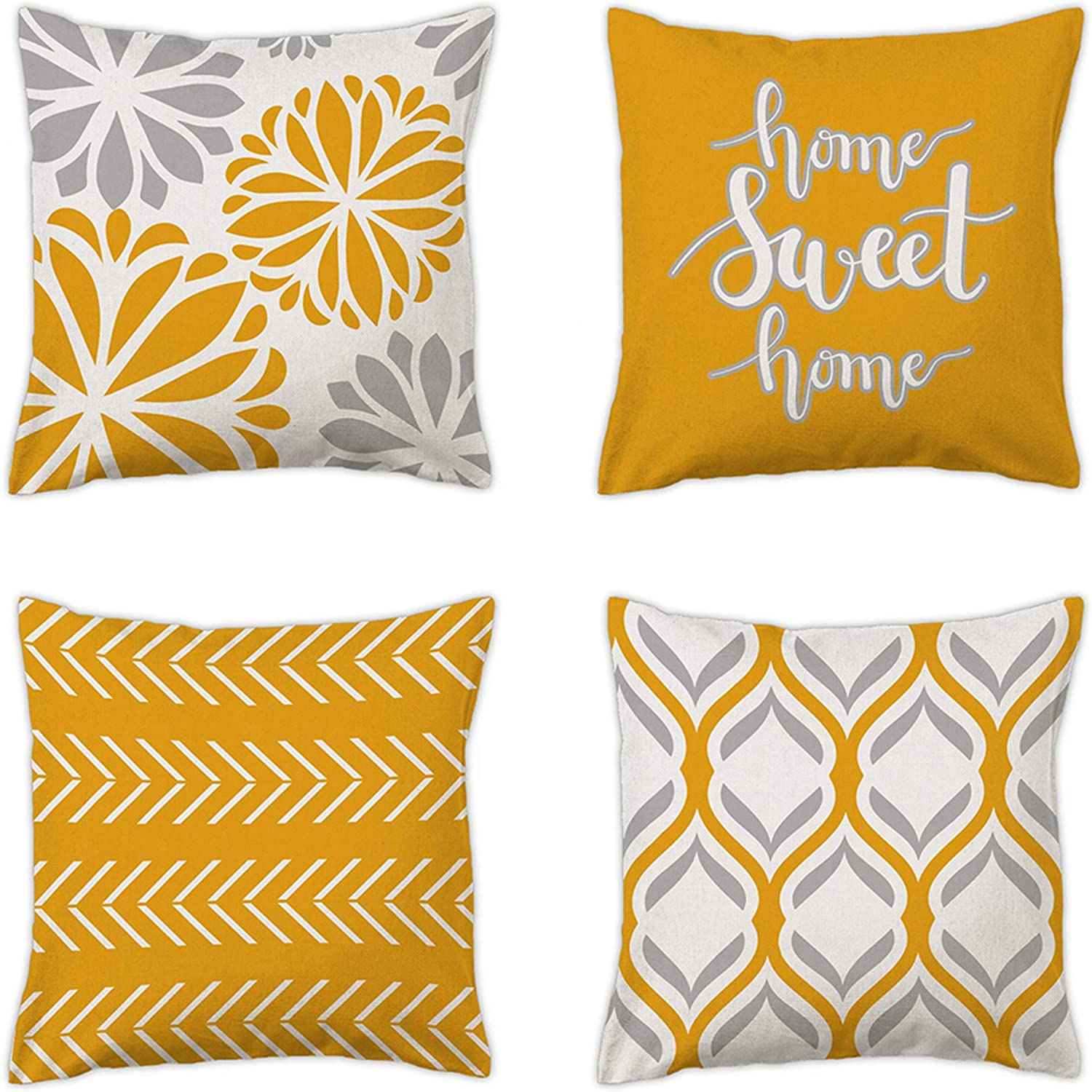 pinata Yellow Pillow Covers 18 x 18 Inch Set of 4, Modern Sofa Couch Decorative Yellow and Gray Throw Pillow Covers, Cotton Linen Geometric Outdoor Pillow Case for Patio Furniture, Yellow Home Decor