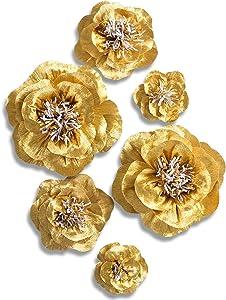 Letjolt Golden Paper Flower Decorations for Wall Backdrop Birthday Party Wedding Thanksgiving Day Baby Shower Bridal Shower(Golden Set 6)
