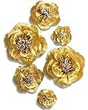 Letjolt Golden Paper Flower Decorations for Wall Backdrop Birthday Party Wedding Baby Shower Bridal Shower(Golden Set 6)