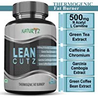 Naturyz LEAN CUTZ Thermogenic Fat Burner with 500mg Acetyl L Carnitine, Green tea Extract, Garcinia Cambogia, Green Coffee Bean Extract, Caffeine & Chromium for Weight Management- 60 Tablets