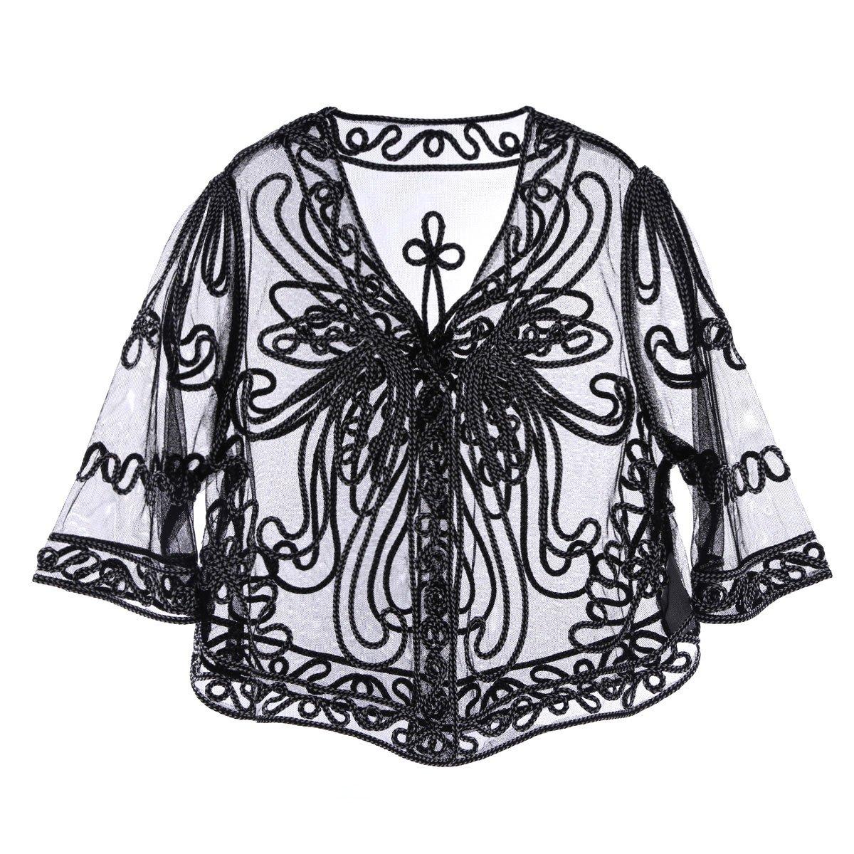 iiniim Women's Casual Lace Crochet Cardigan 3 4 Sleeve Sheer Cover Up Jacket Plus Size Black&White One Size