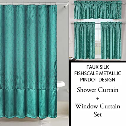 Amazon Shower Curtain And 3 Pc Window Set Metallic Raised Pin Dots Fish Scale Design Teal Home Kitchen
