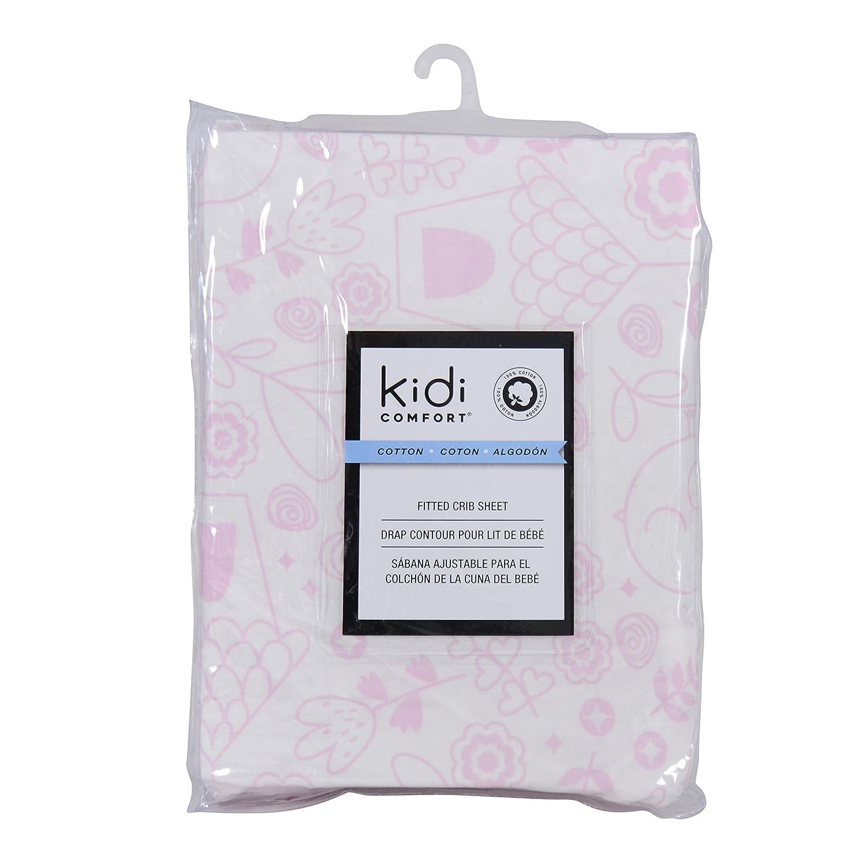100 /% Cotton Kidiway 3043 kidicomfort Fitted crib sheet Pink Bird