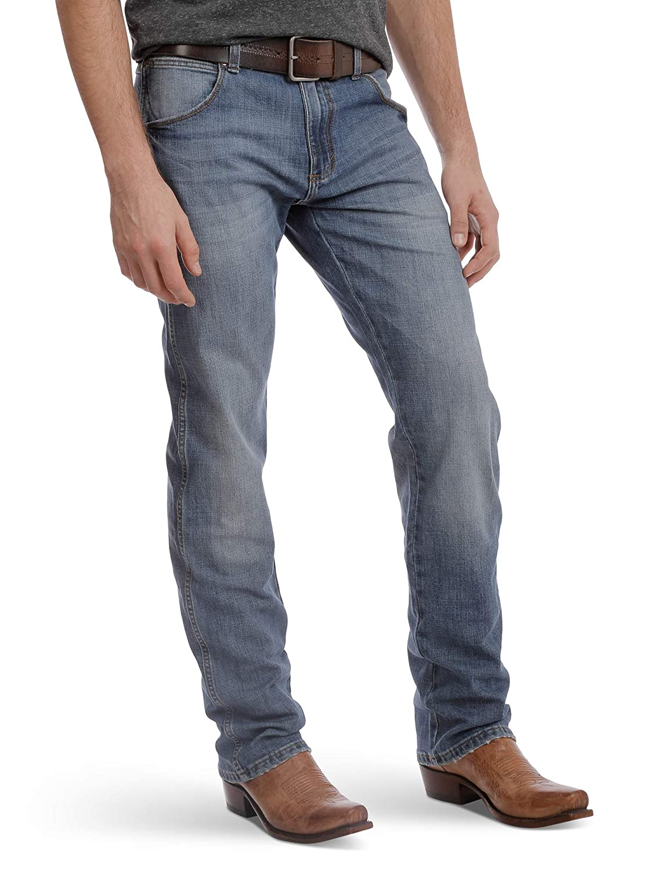 Wrangler Jean pour homme coupe ajustée jambe droite Bleu
