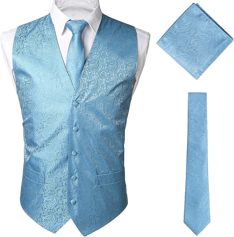 STTLZMC Paisley Gilet Uomo Scollo a V Doppiopetto Slim Fit Elegante Matrimonio Panciotto /& Cravate /& Set Tascabile