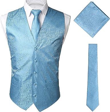 New Men/'s Formal Vest Tuxedo Waistcoat/_necktie set paisley wedding navy blue