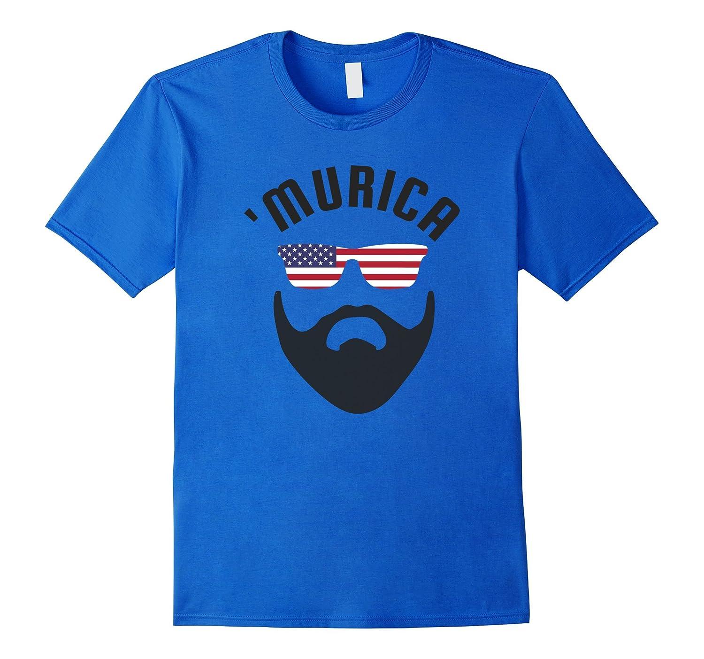 'Murica USA American Flag July 4th Fun Party T-Shirt Beard-TH