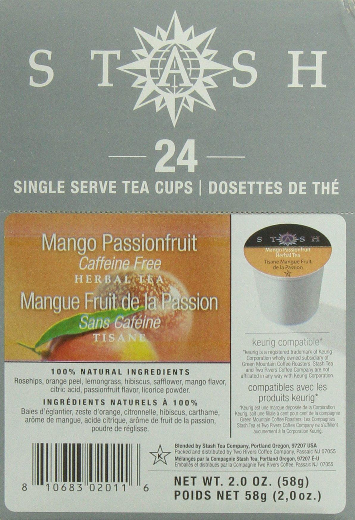 Stash Tea Mango Passionfruit Single-Cup Tea for Keurig K-Cup Brewers, 24 Count
