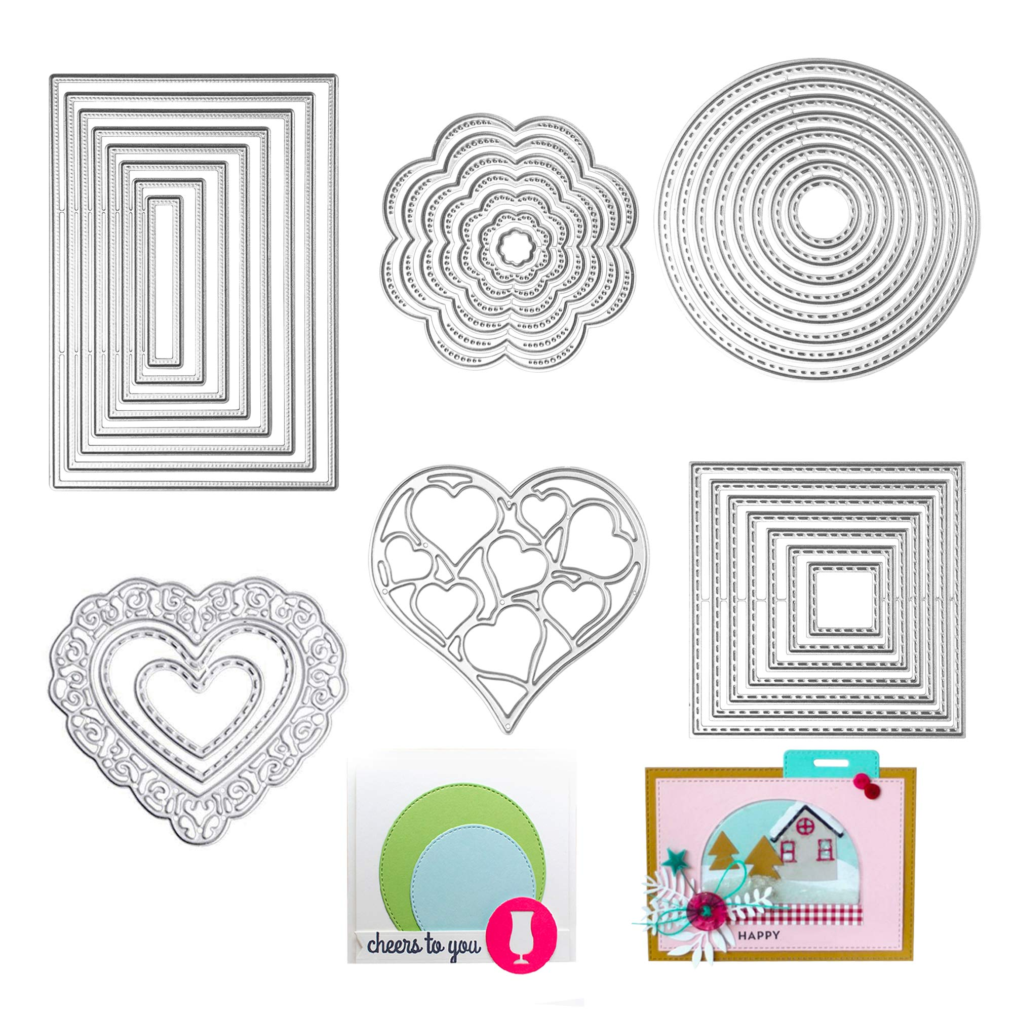 Die Cuts Cutting Dies Metal Square Rectangle Heart Round Flower Embossing Stencils Template Mould for Card Scrapbooking and DIY Crafts 6 Set 34 PCS