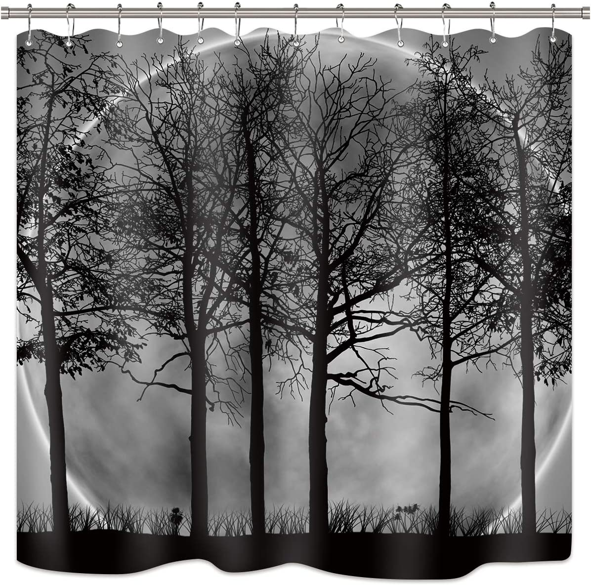 """Riyidecor Black and White Trees Moon Shower Curtain Abstract Gothic Gross Shadow Dark Landscape Gray Art Printed Fabric Waterproof Home Bed Bathtub Decor 12-Pack Plastic Shower Hooks (72"""" W x 72"""" H)"""