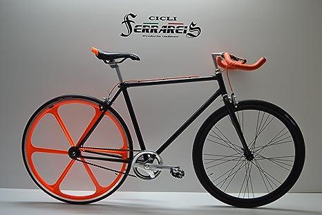 Fixed 28 Bici Single Speed Bicicletta Scatto Fisso Nero Arancio A
