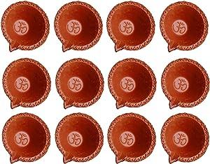 Amroha Crafts 12 Pcs Diya Set of Clay Handmade Diya for Diwali/Deepawali Gift/Decorations/Natural Earthen Oil Lamp/Traditional Diyas for Pooja with Cotton Wicks Batti