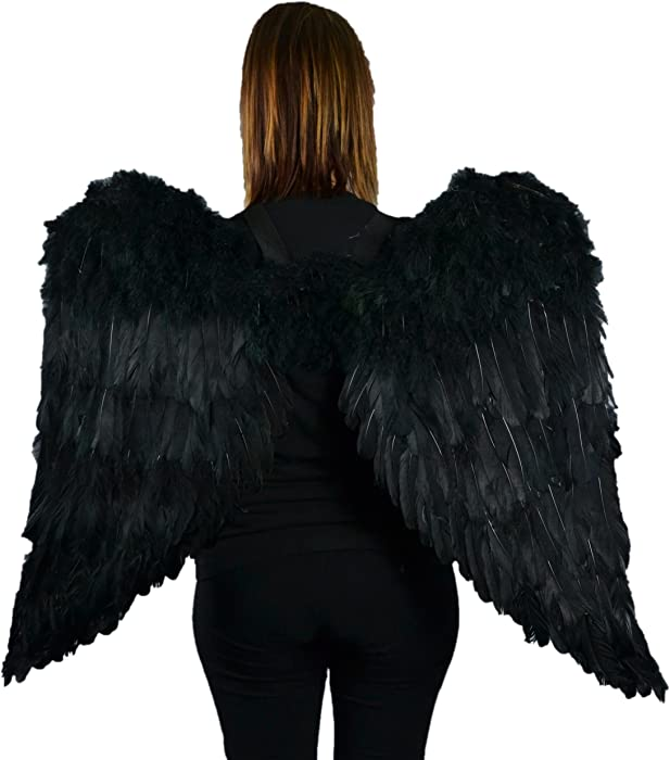 "Touch of Nature Black Adult Angel Wings - 43"" by 27"" - Halo Included - Black Feather Wing - Costume Wings - Large Angel Wings"
