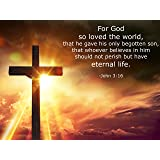 John 3:16 Religious Poster - Inspirational Motivational Quote Wall Art Prints (18X24 inch hi gloss Bedroom, Classroom, Office Christian Posters for Teens and Adults)