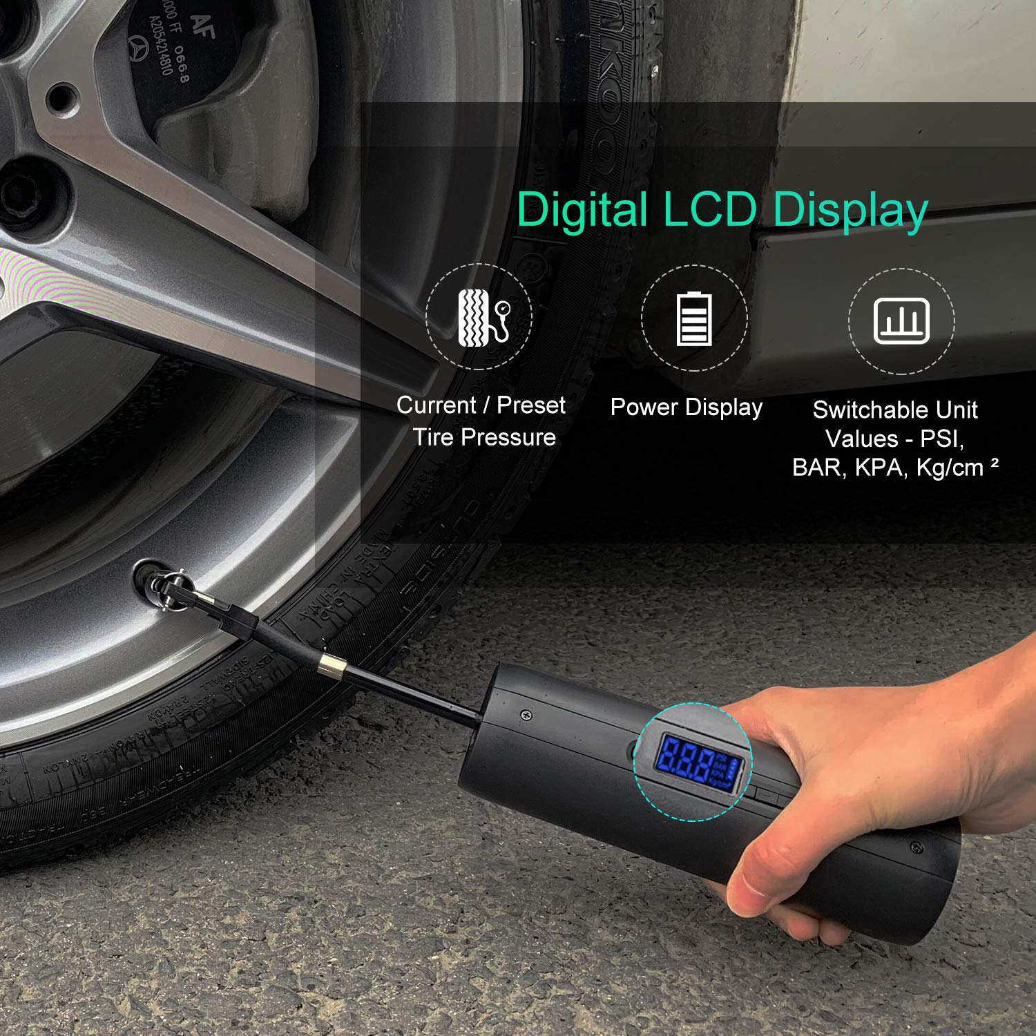 Rechargeable Portable Air Compressor Tire Inflator Pump 12V DC with Digital LCD Display Emergency LED Light Hand Held 2000mAh Power Bank 150PSI High Pressure for Car Bike and Other Inflatable A5 Black