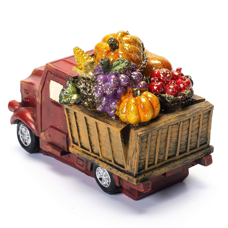 Hannas Handiworks Red Rustic Harvest Truck 7 x 4.5 Inch Resin Stone Tabletop Decorative Figurine