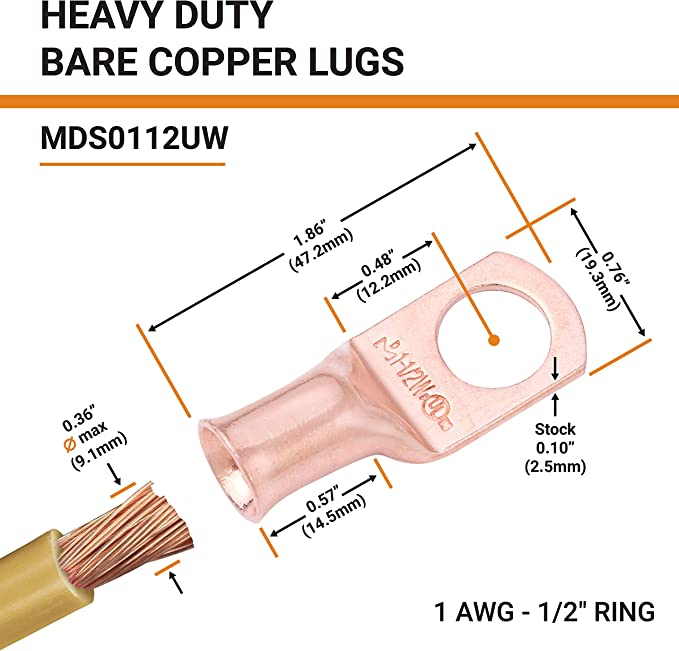 8 AWG - 4//0 AWG /— Heavy Duty SELTERM UL Bare Copper Wire Lugs Battery Cable Ends