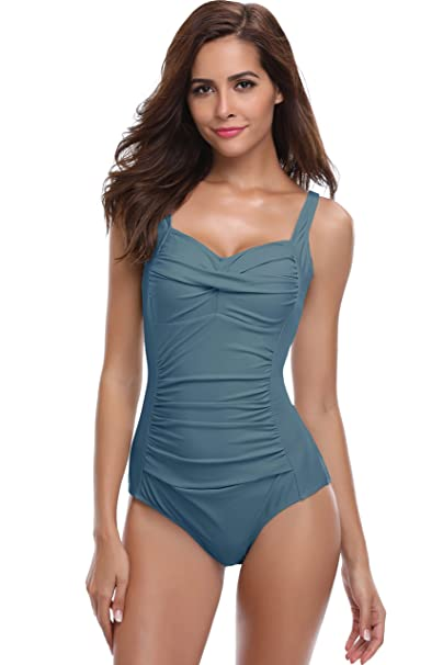 014cd83cea6 SHEKINI Women's Swimwear Vintage Shirred Backless One Piece Bathing Suits  Pin Up Monokini Swimsuits (Small