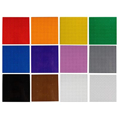 "Imex 12 Pack 6"" x 6"" Multi-Color Building Brick Baseplates (20x20 Stud) 100% Compatible with All Major Brands! 12 Assorted Colors in Pack!: Toys & Games"