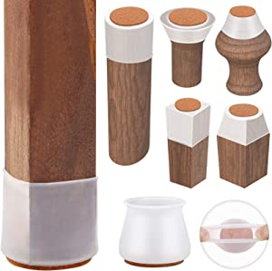 24Pack Chair Leg Floor Protectors for Hardwood Floor, Chair Leg Caps for All Shape Chairs Feet, Silicone Furniture Table Chair Leg Covers,Free Moving for Chair Feets [Upgraded] High transparency White