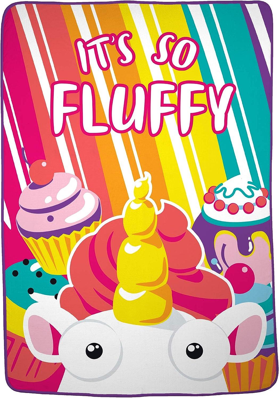 "Franco Kids Bedding Super Soft Plush Microfiber Blanket, Twin/Full Size 62"" x 90"", Fluffy Unicorn"