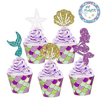 Youth Union Meerjungfrau Kuchendekoration Glitter Cupcake Toppers