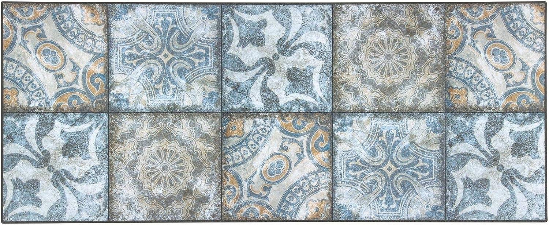 Bavaria Home Style Collection K/üchenteppich modern Dekol/äufer rutschfeste K/üchenmatte I Teppichl/äufer Flur I Vorleger K/üche I K/üchenl/äufer Design I Vinyl Teppich 50 x 180 cm gro/ß I Patchwork blau