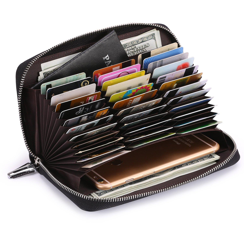 AINIMOER Women's Big 36 Slots Leather RFID Blocking Card Large Capacity clutch organizer Purse Long Zip Passport Checkbook Wallet(Lichee Black)