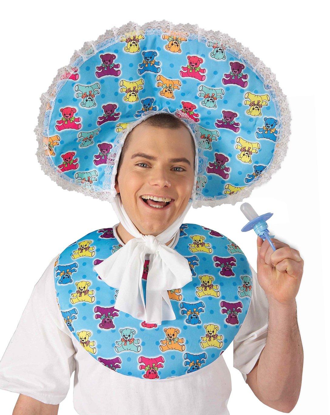 Forum Novelties Men's Big Baby Boy Deluxe Costume Accessory Bib and Bonnet Set, Blue, One size