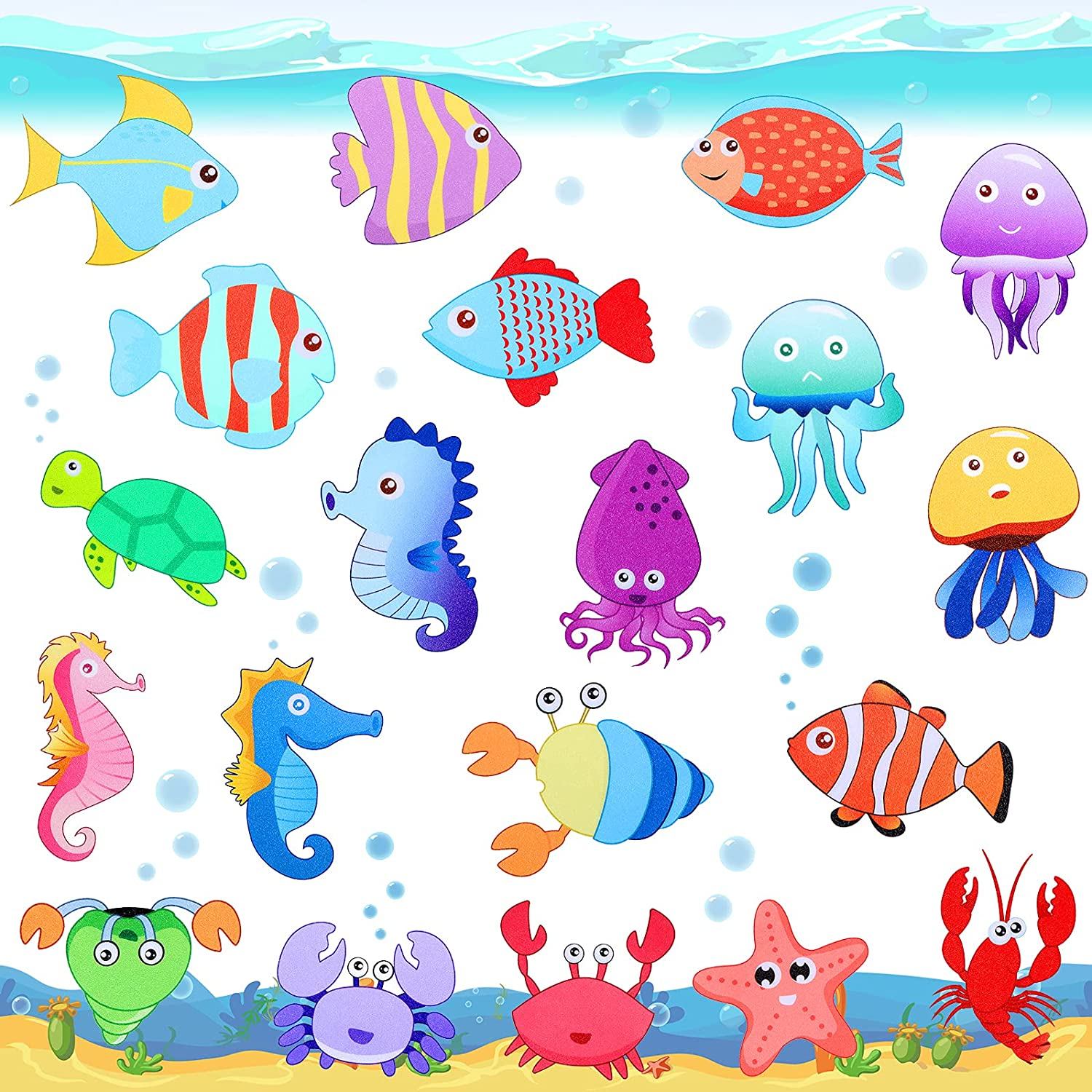 Decorative Fish Wall Decals for Kids and Toddlers, Ocean Under The Sea Wall Sticker Decor Removable Waterproof Cute Wall Stickers for Bathrooms Tubs Bedrooms Children's Classrooms Water Cups