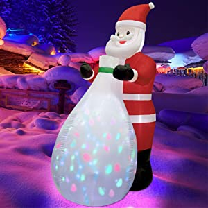 Twinkle Star 8 FT Christmas Inflatables Santa Claus with Gift Bag Colorful Rotating LED Lights, Blow Up Indoor Outdoor Xmas Décor, Light Up Lawn Yard Garden Decorations