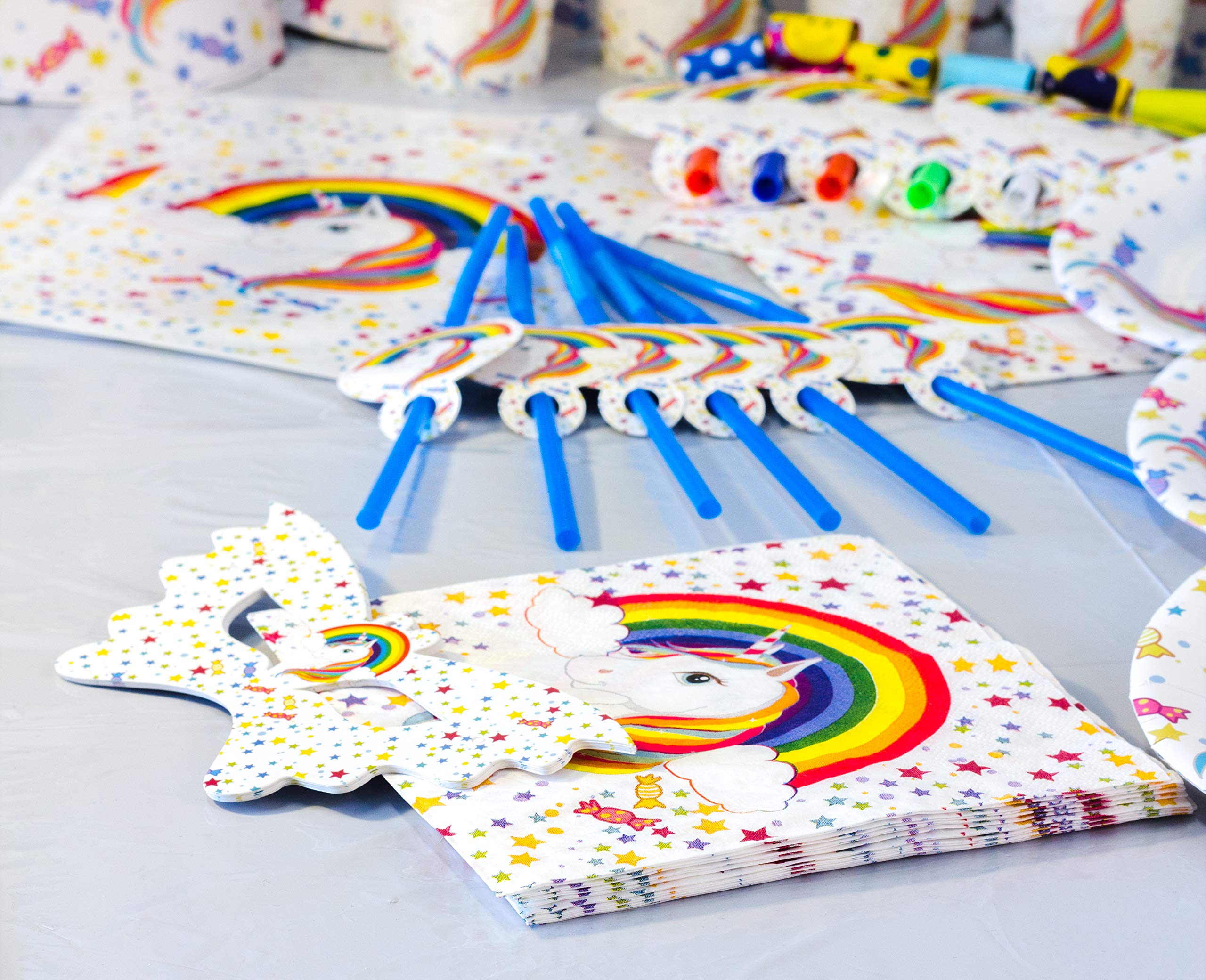 Sigmy Unicorn Party Supplies - (152 PCS)  All-in-One Rainbow Set: Plates, Utensils and Decorations Pack, Serves 10 People. Includes Banner, Hats, Bags, Invitations, Cups, Tablecloth