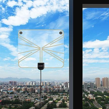 Lovebay - Antena HDTV amplificada de 50 Millas con Amplificador Desmontable y Cable coaxial de 13.1 pies
