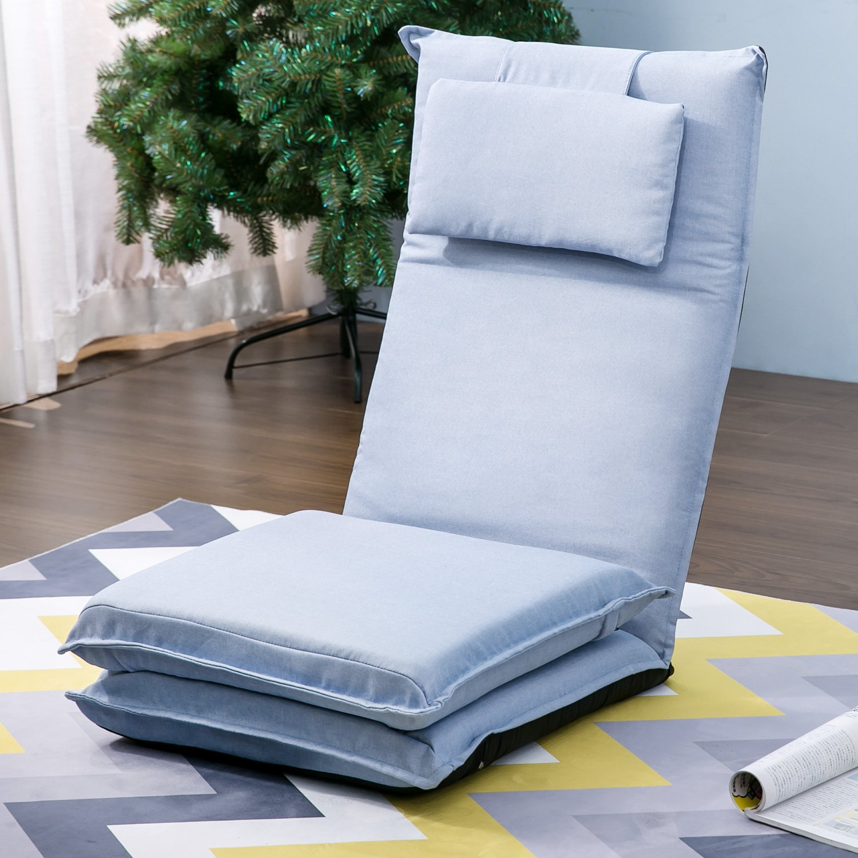 Harper&Bright Designs Adjustable Folding Floor Sofa Chair Video Gaming Lazy Sofa (Light Blue)