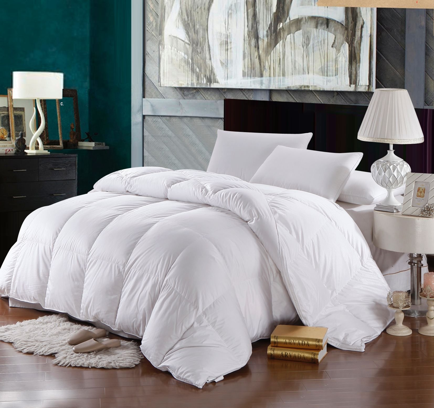 CDM product Royal Bedding Abripedic Hungarian Goose Down Comforter, Hypoallergenic, Duvet Insert, 500-Thread-Count, 100% Cotton Shell, 750FP - 46 Ounces, Queen small thumbnail image