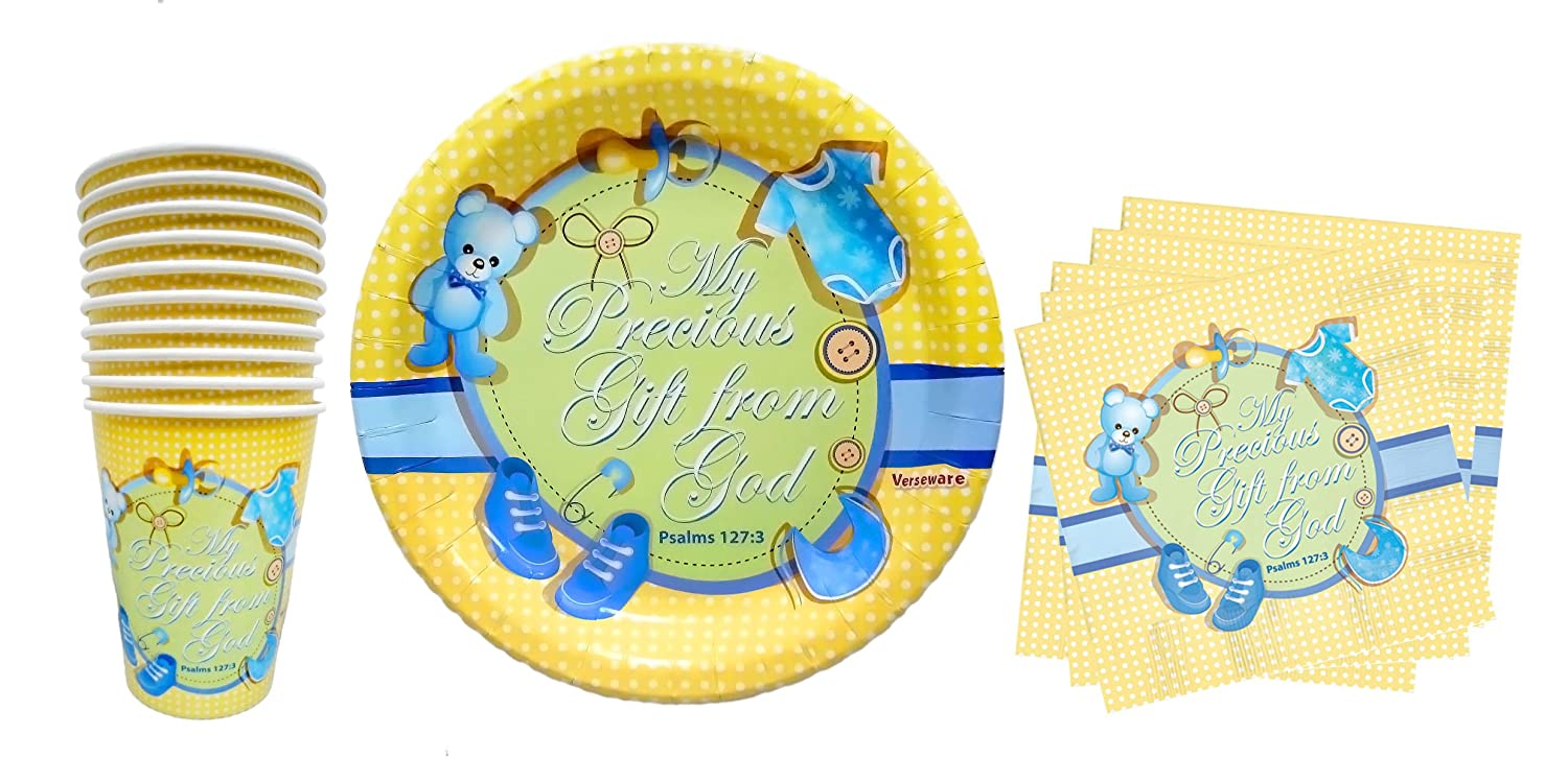 Amazon.com Baby Boy First 1st Birthday Shower Christening Baptism Party Plates Cups Napkins | 40 Piece Party Set | 1st to 5th Birthday ...  sc 1 st  Amazon.com & Amazon.com: Baby Boy First 1st Birthday Shower Christening ...