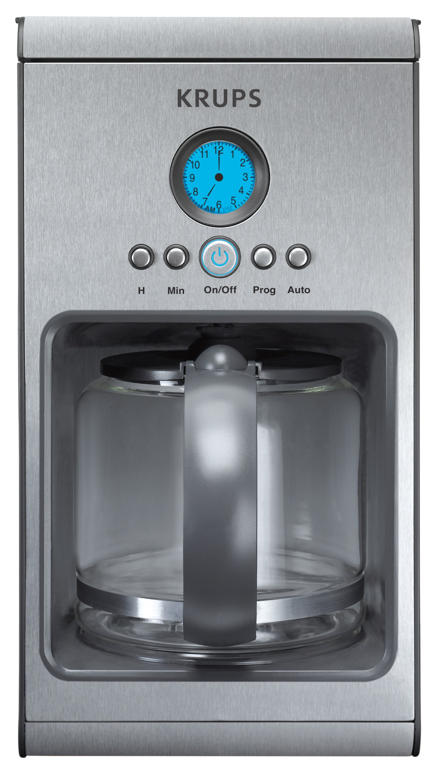 KRUPS KM1000 Prelude Coffee Maker with LCD Analog-Style Clock, Silver, 10-Cup
