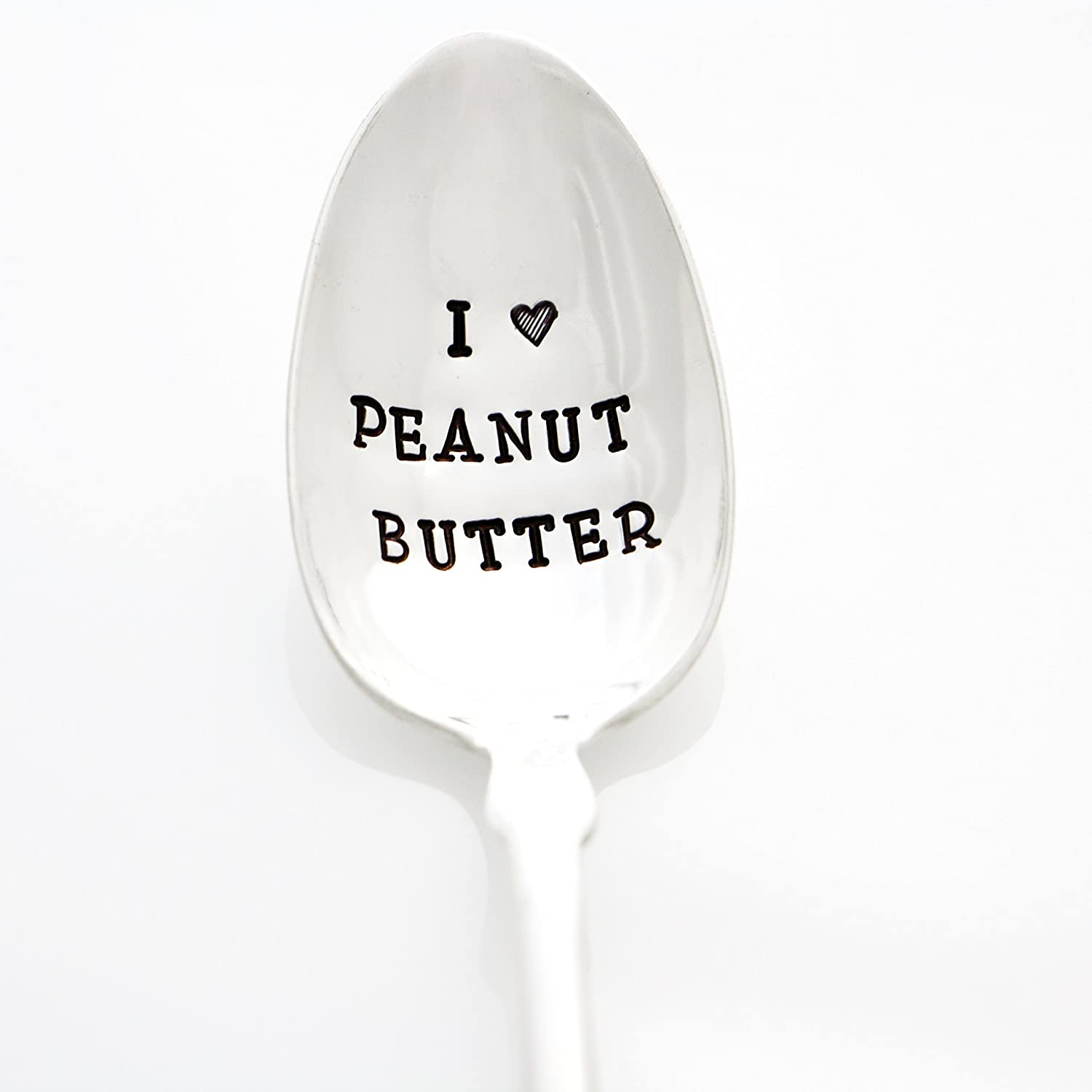Peanut Butter Spoon. I Heart Peanut Butter. Hand Stamped Silverware for Peanut Butter Lovers. Part of the Martha Stewart American Made Market.